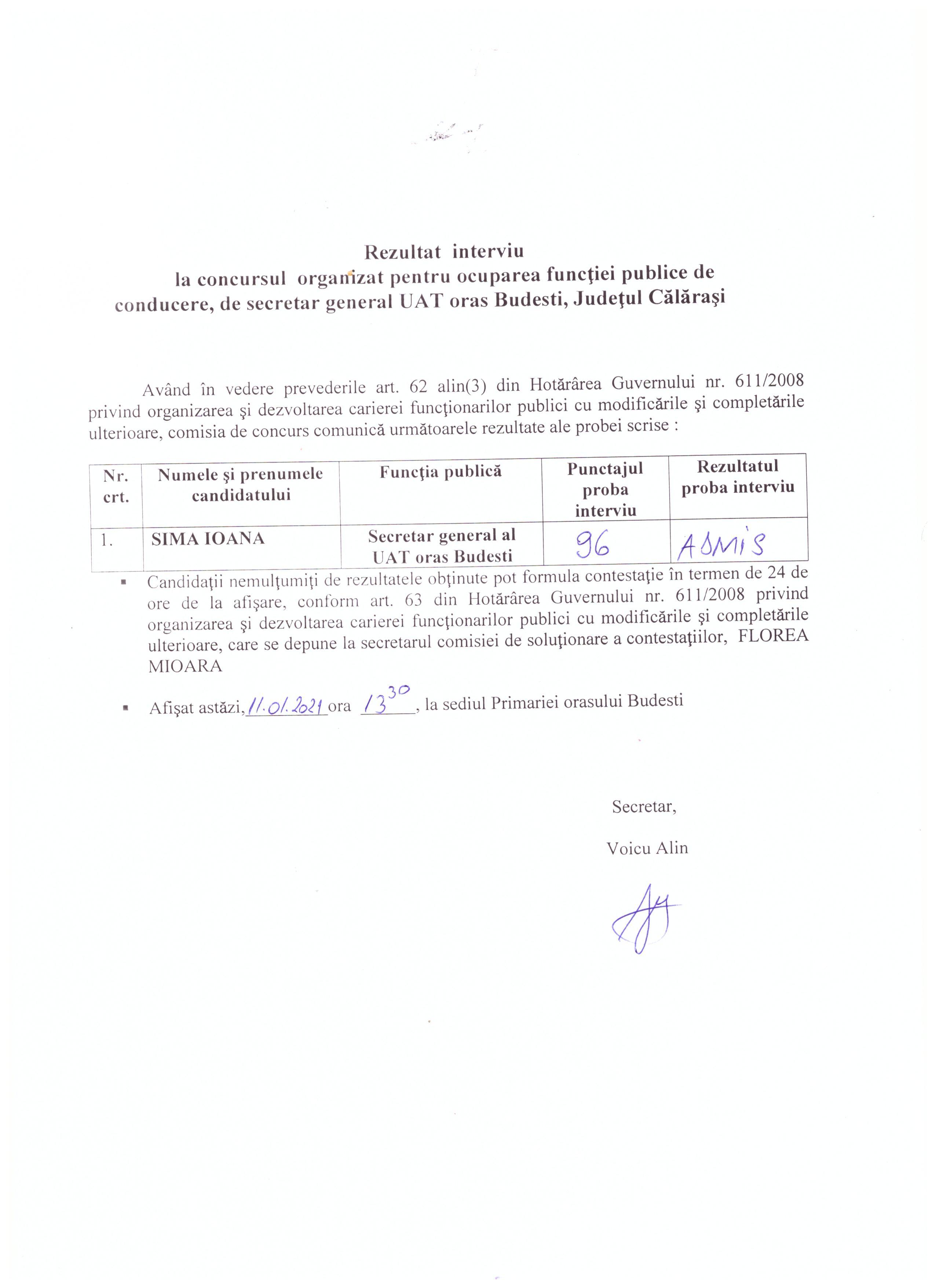 Rezultat interviu- concurs pentru ocuparea functiei publice de conducere -secretar general al UAT Budesti