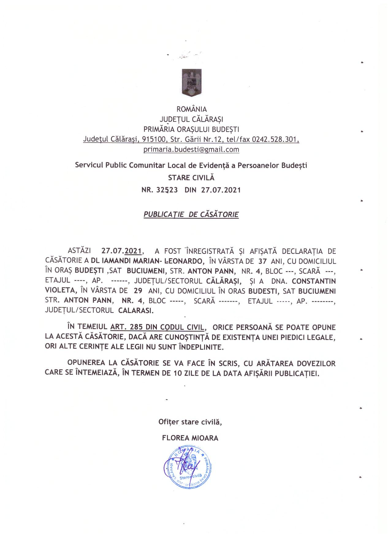 publicatie de casatorie iamandi marian -leonardo